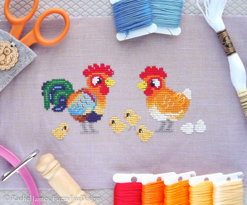 Rooster Chicken Cross Stitch Pattern PDF  Hen Family image 0