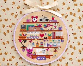 Cute Craft Sewing Art Room Cross Stitch Pattern PDF | Cute Room Cross Stitch Series