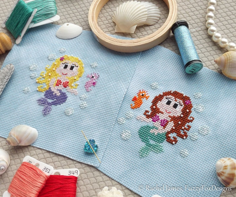 Mermaid Cross Stitch Pattern PDF  Easy Modern Beginners image 0