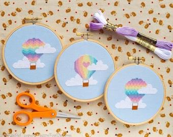 Hot Air Balloon Cross Stitch Pattern PDF | Set of 3 Pastel Balloons