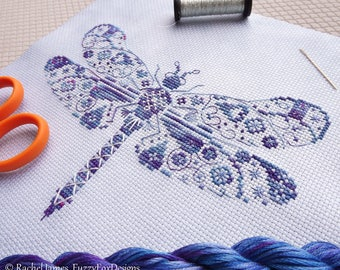 Variegated Dragonfly Cross Stitch Pattern PDF | Chart for Colour Variations, Coloris, ThreadworX, or Hand-Dyed Floss