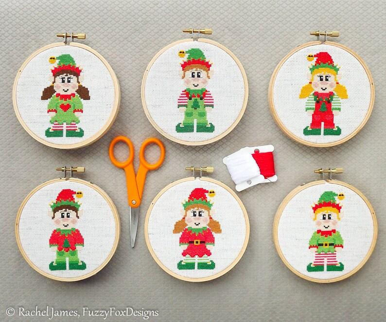 Christmas Elves Cross Stitch Pattern PDF  Set of 6 Cute Elf image 0
