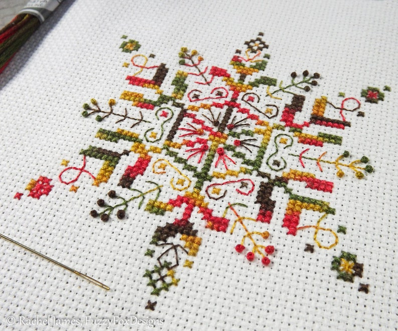 Variegated Snowflake Cross Stitch Pattern PDF  Chart for image 0