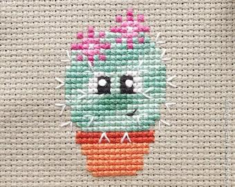 Freja the Cactus Cross Stitch Pattern PDF | Prickly but Cute Stitch-a-Long