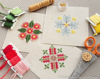 Australian Flora Christmas Decorations Cross Stitch Pattern PDF | Set of 3 Aussie Floral DIY Christmas Decorations