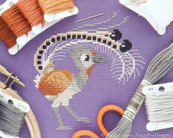 Lovable Lyrebird Cross Stitch Pattern PDF | Cute Bird Counted Cross Stitch Chart | Instant Download