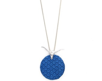 Buffalo head and blue tilapia leather necklace