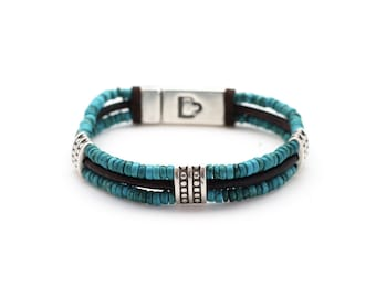 Mens leather bracelet and turquoise
