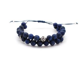 Men bracelet double lapis and silver