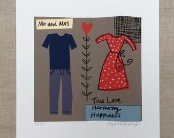Mr and Mrs screenprint