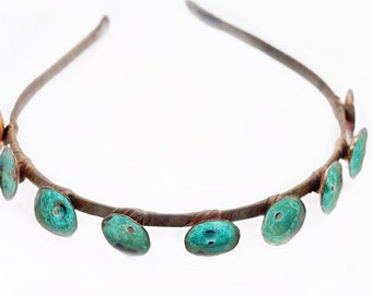 Hair accessories Copper jewelry for her Copper patina jewelry Green tiara Antique Tiara Headband for gift Blue Crown Tiaras Accessories