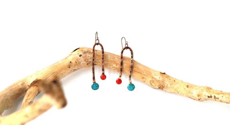 Abstract art jewelry Blue red earrings Long copper earrings Metalwork Dangle drop Bar earring Minimalist jewelry Minimal drop Copper jewelry