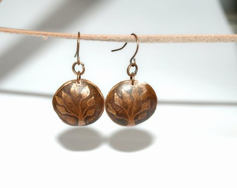 Tree of life earrings, Copper dangle earrings, Mother Nature earrings, good luck gift for her, Rustic jewelry eco gift, Nature lover dangles