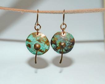 Copper dangle earrings Blue patina earrings Turquoise Patina jewelry Long blue earrings Long copper earrings Turquoise dangle earrings