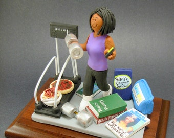 Exercising Mom's / Wife's Personalized Birthday Gift - Custom Made Figurine - Clay Statue - gift for wife, daughter, sister,