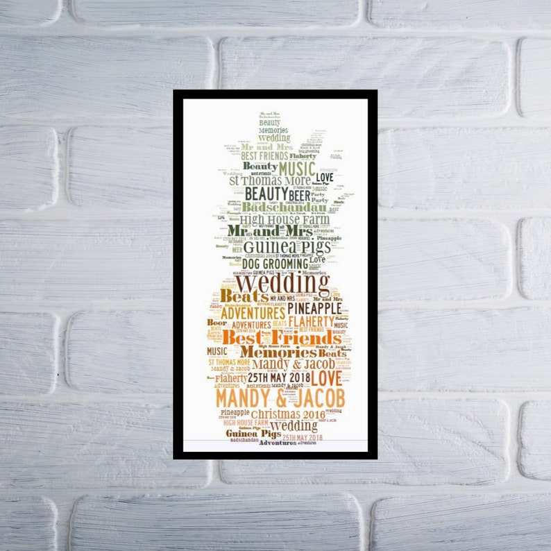 Personalised Pineapple Word Art Print Birthday Present