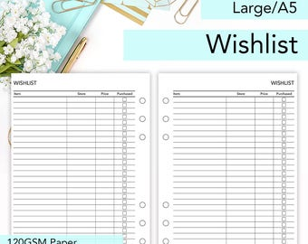 Wishlist | A5 Printed Planner Inserts