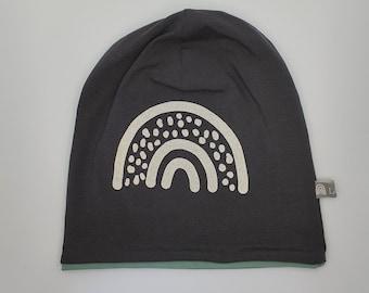Reflektierende Mütze, Kindermütze, Beanie, Schulkind, Grundschule, Wendemütze, Sicherheit, Kopfumfang 56 cm, Regenbogen, anthrazit, altmint