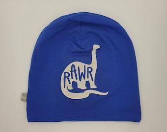 Reflektierende Mütze, Kindermütze, Beanie, Schulkind, Grundschule, Schulweg, Wendemütze, Sicherheit, , Kopfumfang 54 cm, Dino, blau