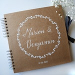 Kraft guestbook personalized names in calligraphy and Crown | Rustic and original wedding | Personalized guest book white ink