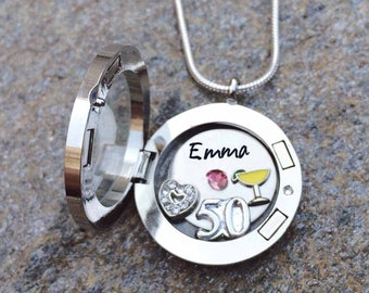 Personalized 50th birthday memory locket necklace - 50th Birthday Gift For Her - Happy birthday custom necklace - Happy 50th floating locket
