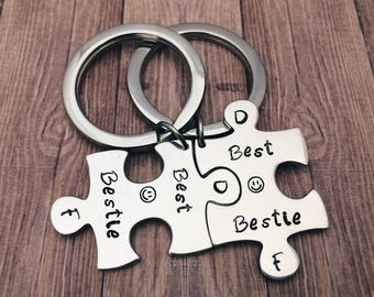 Best friends gift Jigsaw puzzle piece keychain - Bestie gift matching set - personalized puzzle, best friends set - Christmas gifts keyring