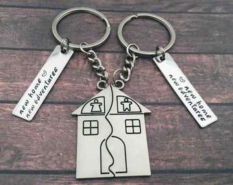 New Home Keychain Housewarming Puzzle Gift - Couples New Home New Adventures Gift Set House Keys Keyring Moving In Together First Home Funny
