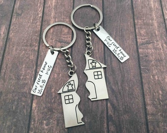 First Home Keychain Housewarming Puzzle Gift - Couples New House First Home Gift Set House Keys Keyring Moving In Together First Home Funny