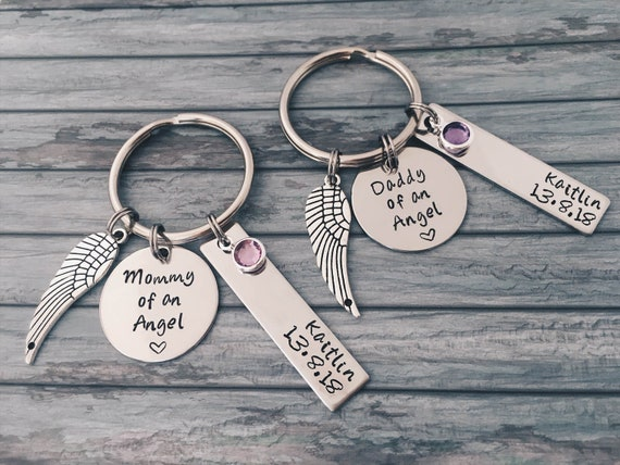 Custom Miscarriage Keyring Infant Loss Mummy Daddy Keychain Gift Child Wing Remembrance Love You Always Gift Memorial Custom Keepsake