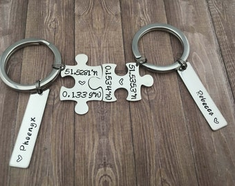 Coordinates Jigsaw puzzle piece keychain - Couple matching set keyring coordinates - Personalized Valentines day gift - Couple Gifts for him