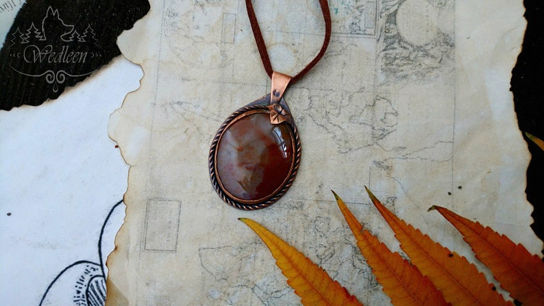 Red agate necklace, Agate pendant, Leaf pendant, Red stone pendant, Red  leaf necklace, Forest pendant, Copper pendant, Woman necklace