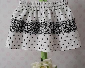 Handmade Black and White toddler/ girls polka dot skirt