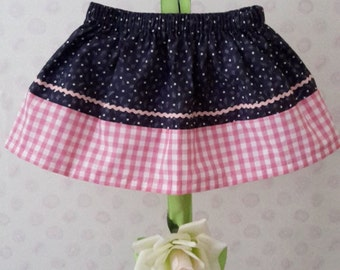 Handmade baby/toddler girl's Pink and Blue contrasting skirt