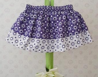 Handmade baby/toddler girl's Purple and white retro polka dot skirt