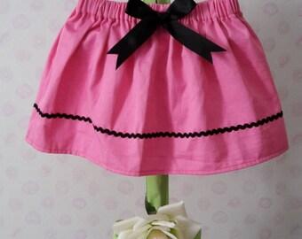 Handmade baby/toddler girl's pink and black skirt
