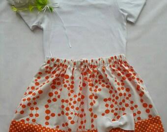 Handmade girls/toddler orange polka dot skirt *BONUS white t-shirt*