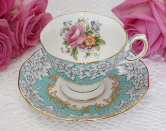 Vintage 1950s English Royal Albert Enchantment Teacup and Saucer in Malvern Shape Aqua Blue Demitasse Teacup and Saucer Kitchen Collectible