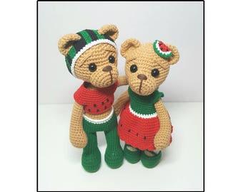 crochet pattern amigurumi Watermelon bear couple