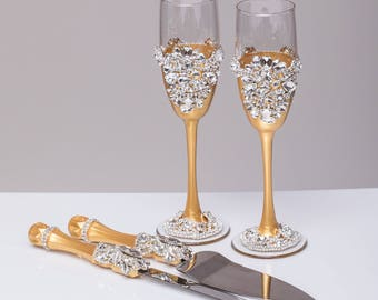 NAVY Wedding glasses and cake server set Plate Forks Unity candles and holders Guestbook Bearer pillow Champagne set of 15
