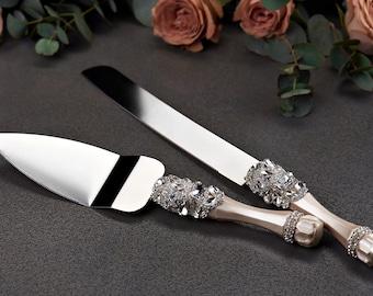 Personalized Wedding Cake Server Set Wedding Cake Knife Cutting Set silver Wedding Cake Server cake knife set of 2