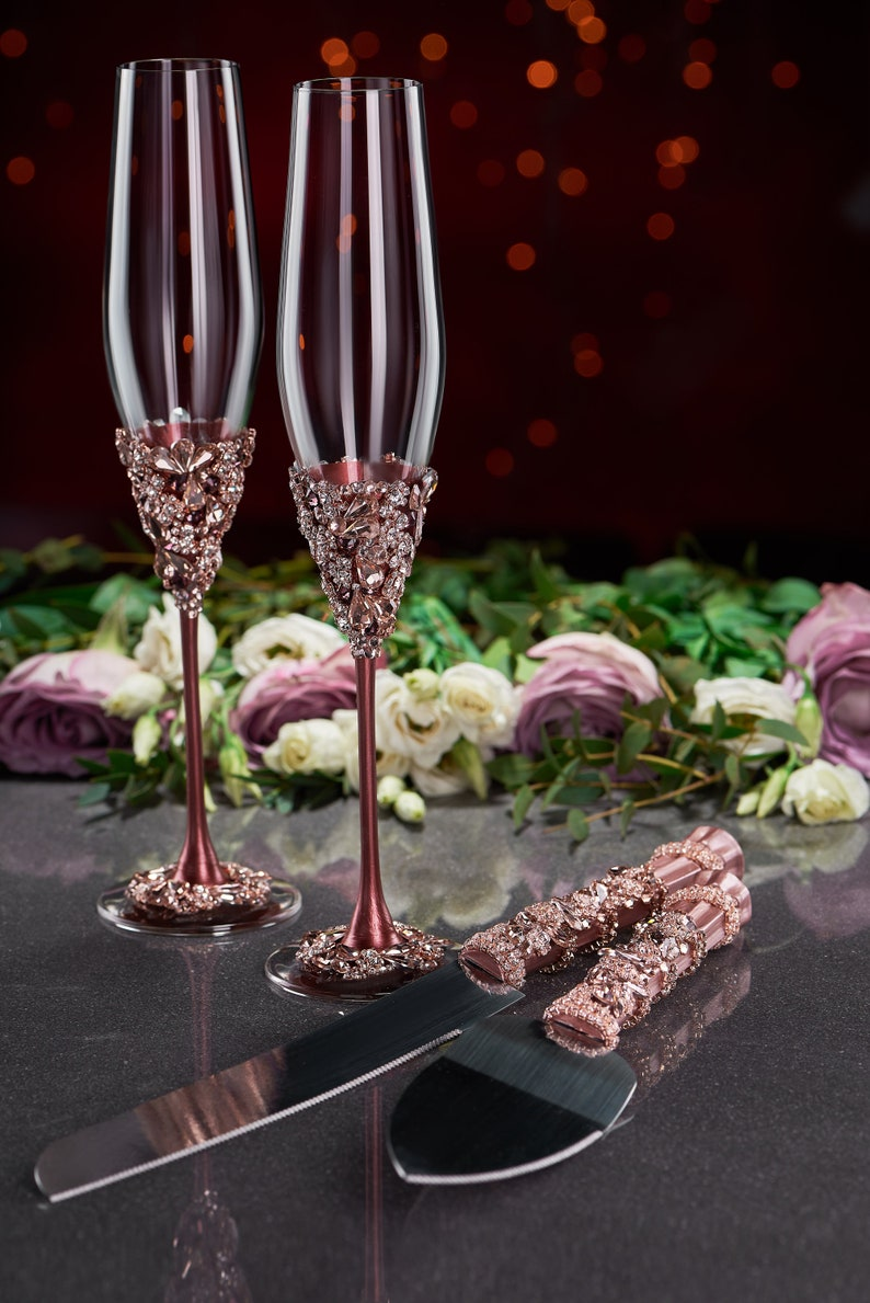 Burgundy Wedding Glasses And Cake Server Set Wedding Cake Etsy