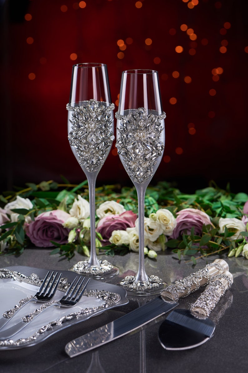 Fast shipping 4-7 days Wedding glasses and cake server set Plate and forks Pillow for rings Silver Blush White Champagne Wedding set of 8