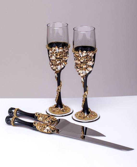 Schwarz Gold Hochzeit Glaser Und Server Hochzeitstorte Etsy