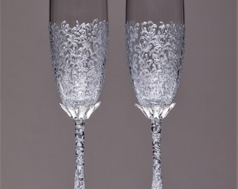 Wedding silver glasses Champagne flutes Silver wedding toasting glasses silver Flutes Silver wedding toasting flutes Set of 2