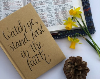 Hand  Lettered Notebook with a Kraft cover and 80 lined pages. A6 size