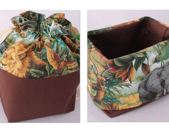 Medium BASKET Bag, Drawstring bag with fold over top to create basket. Jungle print - great for a craft project bag or kids travel toy bag.
