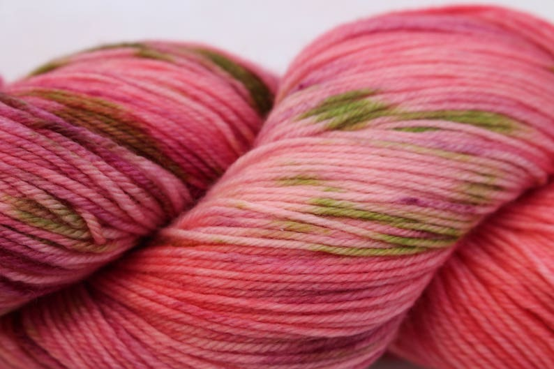 Merino Nylon 4 ply Kept by the power of God Cashmere in soft shades of pink with the verse in green. fingering weight Scripture Yarn