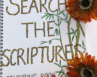 Search the Scriptures A4 spiral bound Coloring Book.  Contains 30 coloring pages on thick 160gsm paper.