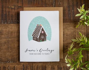 Christmas Card, Gingerbread Holiday Card, Gingerbread House, Illustrated Card, Christmas Greeting Card, Holiday Greeting Card