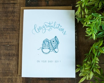 Baby Congratulations Card, Baby Greeting Card for Boy, New Baby Congratulations